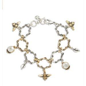NWT Lucky Brand 2 Tone Bee Charm Bracelet